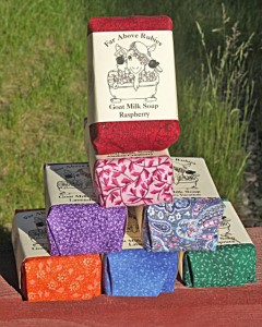 Each bar of 4-5oz soap is wrapped in colorful cotton fabric